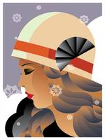 Art Deco Stylish Woman with Snowflakes