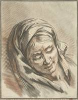 Head of woman with headscarf, Gilles Demarteau, af