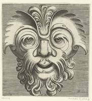 Mask with beard and mustache with curls, a tuft of
