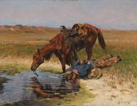 RICHARD LORENZ (1858-1915) At the Waterhole - oil