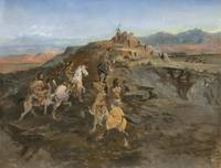 SIGHTING THE HERD (BUFFALO HUNT) BY CHARLES M. RUS