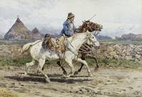 Buttero riding in the Roman Campagna By Enrico Col