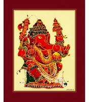 coral-ganapathi-art-print-silk-framed-sale-online