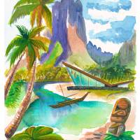 """""""watercolor high cliffs house7FINAL"""" by sophista-tiki"""