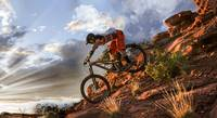 BMX in Rugged Mountain Terrain in Sunbeams