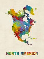 North America Continent Watercolor Map