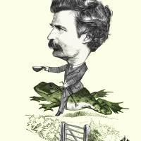 Mark Twan Caricature Colorized Version of 1873 Ill Art Prints & Posters by Phil Cardamone