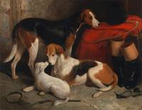 A Couple of Foxhounds with a Terrier, the property
