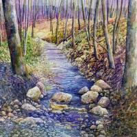 Creek Crossing Art Prints & Posters by Hailey E. Herrera Watermedia