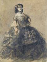 CONSTANTIN GUYS ; YOUNG WOMAN WEARING CRINOLINE