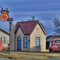 Route 66 Wall Art Old Phillips 66 Gas Station Art Prints & Posters by Judy Loughman