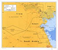 Gulf War Boundaries Map, Saudi Arabia, Iraq, Kuwai