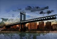 Twilight Manhattan Bridge NYC Twinkling Lights