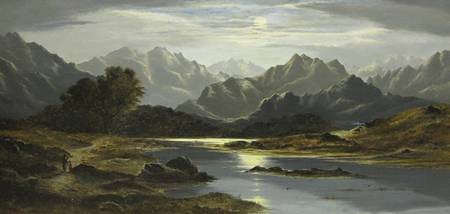 CHARLES LESLIE. Mountainous Lake landscape by Moon