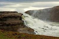 Gullfoss waterfall in a cloudy day