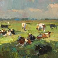 """""""Sunny Day - Cows Resting - Painting Roos Schuring"""" by rschuring"""