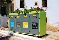 Recycling bins on Halki island