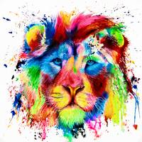 Neon Lion Acrylic Ink Spatter Painting