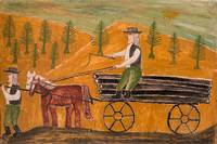 Naive Painting of Village Life