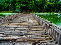 Wooden bridge in Yangon