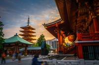 Hondo and pagoda at sunset in Senso-ji temple, Tok