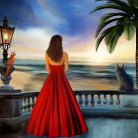 Tropical Sunset Art Prints & Posters by Anne Vis