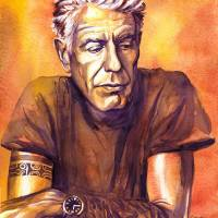 """Orange Anthony Bourdain"" by KellyEddington"