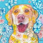 Yellow Lab Flower Dog Pop Art by RD Riccoboni