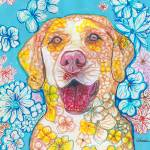 """Yellow Lab Flower Dog Pop Art"" by RDRiccoboni"