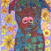 """Chocolate Lab Flower Dog"" by RDRiccoboni"