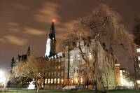 Georgetown University night view of Healy Hall