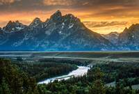 Sunset on Grand Teton and Snake River - Wyoming