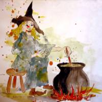 A Witch called Zee Art Prints & Posters by Valerie Anne Kelly