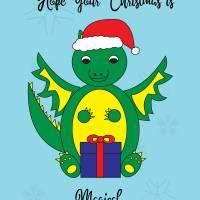 Christmas Dragon Magical Cute Santa Hat Art Prints & Posters by Valerie Waters