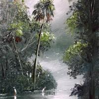 """Egrets Along The Misty River"" by mazz"