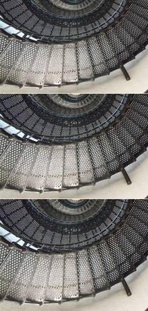 Three images of a black spiral staircase