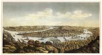 Lithograph showing bird's-eye view of the city of