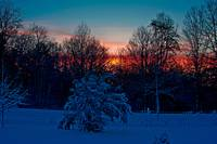 Sunset with the nature of the European snow