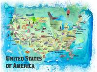 USA Continental States Map With Highlights