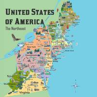 USA Northeast States Map VA WV MD PA NY MS CT RI V