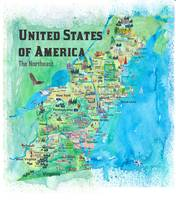 USA Northeast States Travel Map VA WV MD PA NY MS