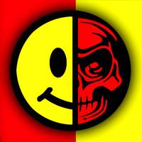 Smiley Face Skull Yellow Red Border