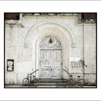 """Door and 2 Bikes 16x20"" by curtisstaiger"