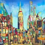 New York City Geometric City Lights by RD Riccoboni