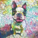 Joy Flower Puppy Boston Terrier by RD Riccoboni
