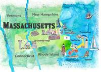 USA Massachusetts State Travel Poster Map with Tou