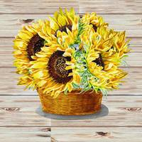 Farmers Market Basket With Sunflowers