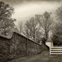 Mt Vernon Garden Wall Black and White by Karen Adams