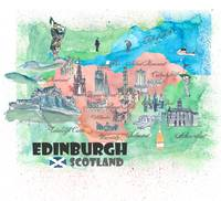 Edinburgh Scotland Travel Poster Favorite Map