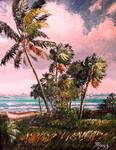 Windy Palm Trees Along Indian River Lagoon by Mazz Original Paintings